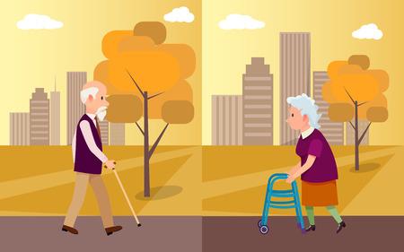 公園内の歩行棒を持つ高齢者男女、ベクトルイラスト