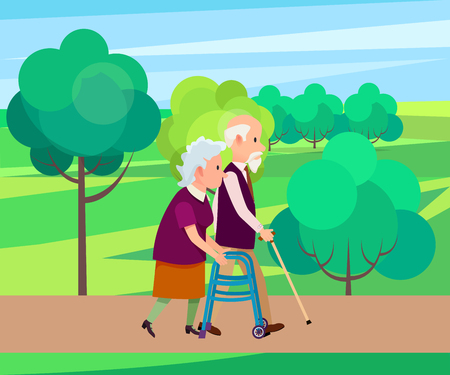 Grandfather Walking with Stick along with Senior Woman with a walker guide, a vector illustration