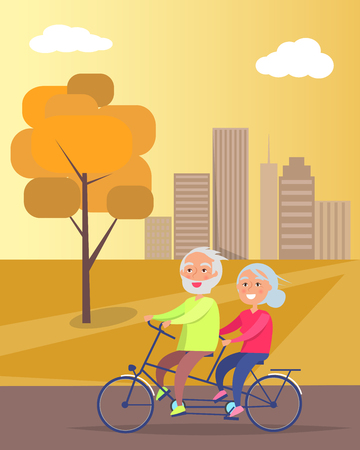 Happy Mature Couple Riding Together on Bike Illustration