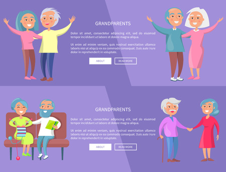 Grandparents Poster background design with Senior Lady and Gentleman