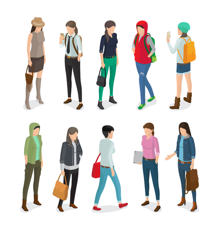 Student or College Girl Cartoon Characters Set Illustration