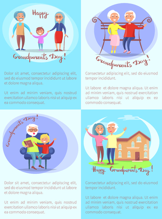 Happy Grandparents Day Set of Posters with Text