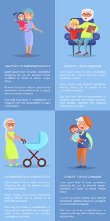 Grandparents, Granddaughter and Grandson Posters background design