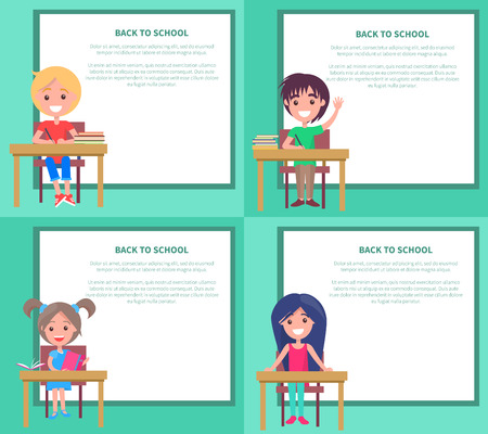 Back to School Set of poster Vector Illustrations with Kids standing in front of the table