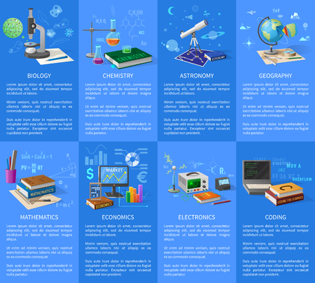 Educational University Subjects Posters with Text illustrated on a blue background Иллюстрация