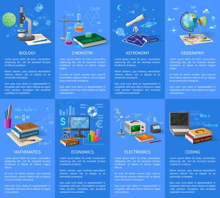 Manifesti di soggetti universitari educativi con testo illustrato su sfondo blu Archivio Fotografico - 90675168