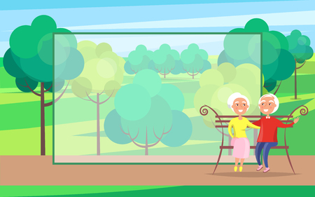 Happy Grandparents Day Banner or card design concept with Senior Couple on Bench, vector illustration Иллюстрация