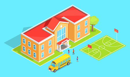 School Orange Two-Storey School and Yellow Bus