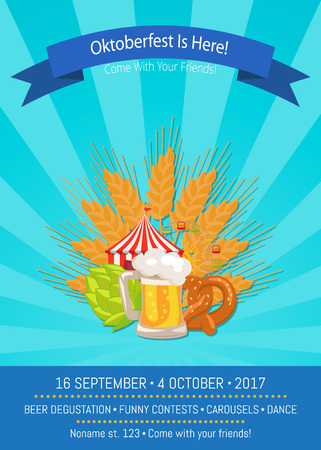 Oktoberfest is Here 2017 Vector Illustration poster background design Çizim