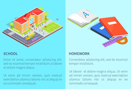 Back to School Education Posters with Isolated 3D Illustration