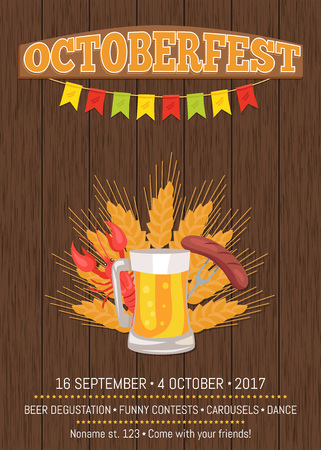 Octoberfest Poster Depicting Beer Mug and Food Ilustração