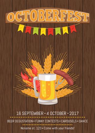 Octoberfest Poster Depicting Beer Mug and Food Illustration