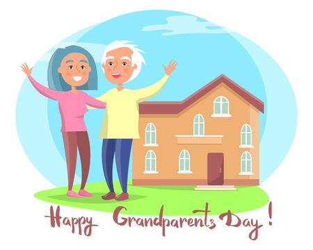 Happy Grandparents Day celebration concept of Couple near House Vector illustration Ilustração