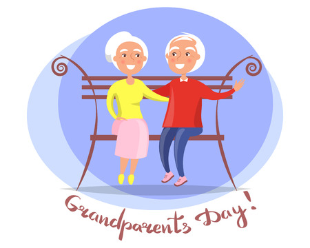Happy Grandparents Day, celebration concept of old person background design with Couple on Bench Vector illustration