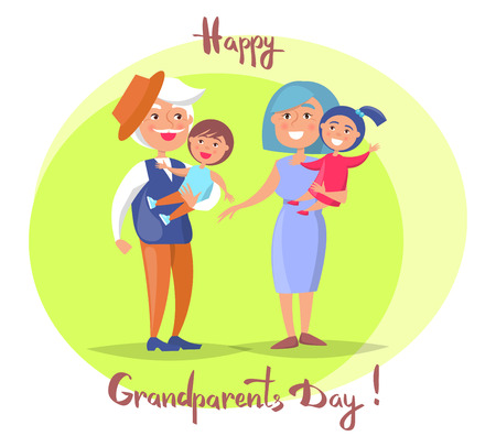 Happy Grandparents Day banner or poster background with Senior Couple with Children Illustration