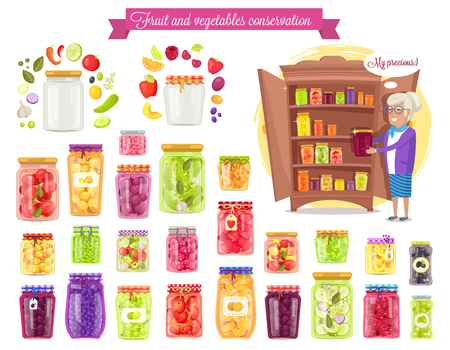 果物、野菜の保全のベクトル図  イラスト・ベクター素材