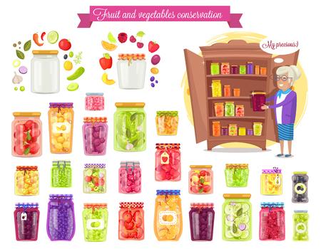 Fruit ,Vegetable Conservation Vector Illustration