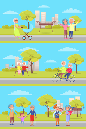 Flat illustration Set of Vector Posters with Grandparents and Kids Illustration