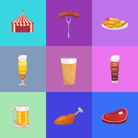 Various Set of Images for Oktoberfest concept Vector Illustration