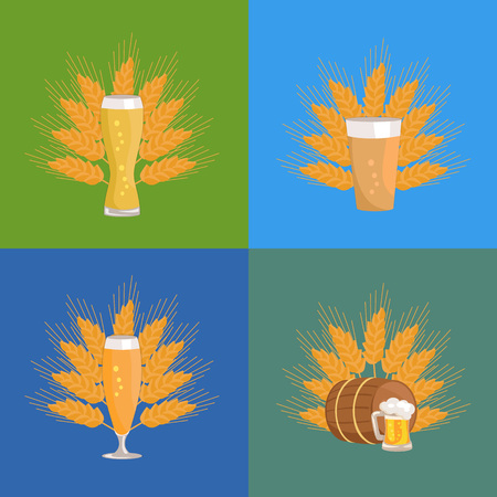 Beer Glasses icon set with Wheat Vector Illustration Illustration
