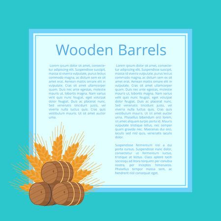 木製の樽と熟した小麦の耳分離ベクトル図の背後にあります。テキストと青い背景を持つ正方形の上に重ねビール樽