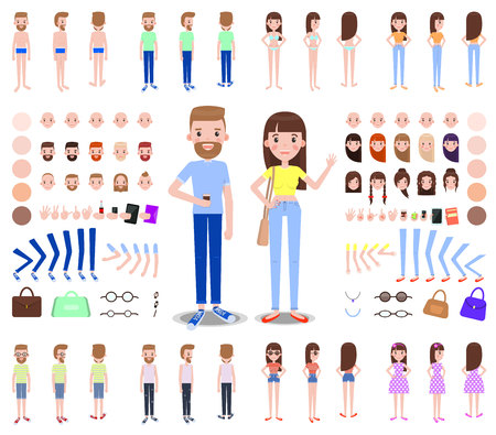 Modern Male and Female Characters Constructors, vector illustration