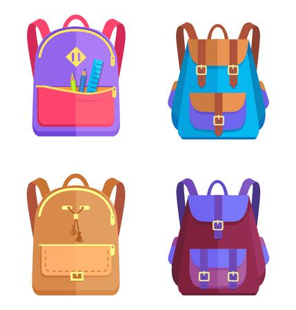 Set of Colorful Rucksacks for Girls or Boys Vector illustration Ilustração