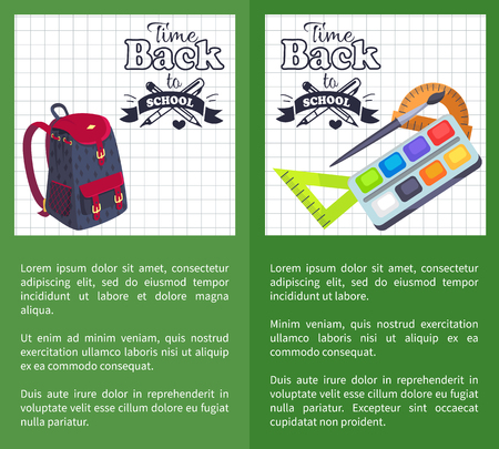 Back to School Time Posters Rucksack and stationery design on Leaflets