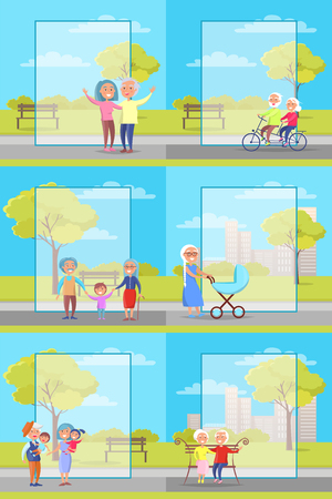 Older People Outside the Park, a Collection of poster background for Grandparents Day Illustrations