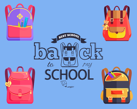 Volver a la etiqueta engomada de estilo de dibujos animados de mi escuela con bolsas, ilustración vectorial Foto de archivo - 90750290