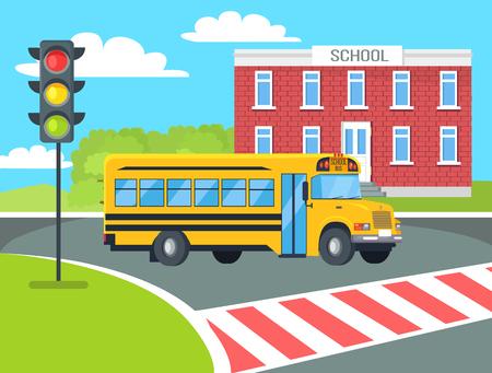 Bus Stops Before Pedestrian near School Building, vector illustration Illustration