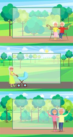様々なアクションを行う公園で一緒に成熟した人々は、座って、乗って、歩きます。祖父母の日のコンセプトのポスター