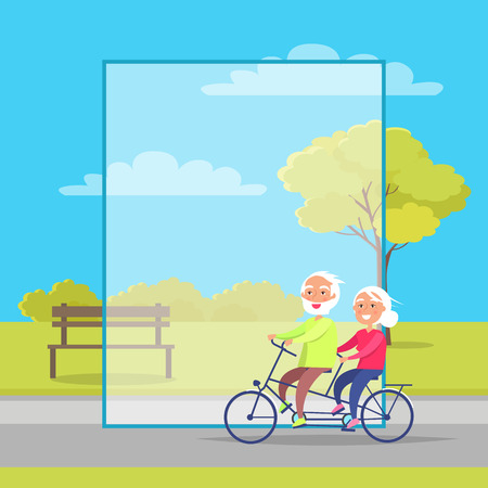 Happy Mature Couple Riding Together on Bike Ilustrace