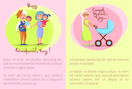 Happy Grandparents Day banner or poster concept Senior Couple and Kids, vector illustration