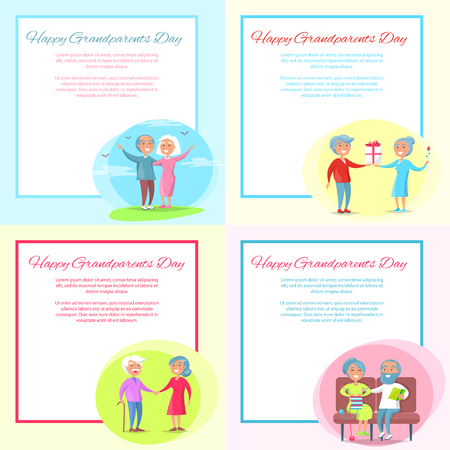 Happy Grandparents Day Posters Design Set with Senior Couple, vector illustration Stock Vector - 90750299