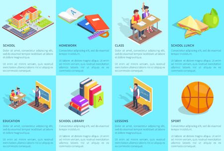 Set of Posters Dedicated to Studying at School, vector illustration