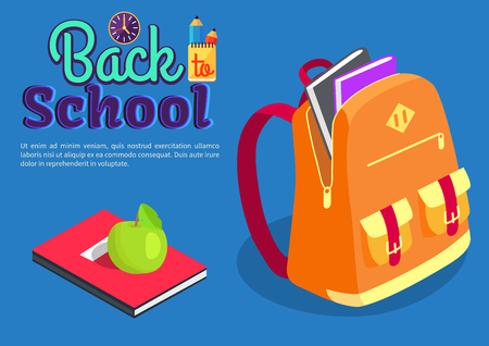 Backpack Full of Textbooks with Apple over a lying book, Vector illustration Illustration