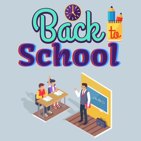 Students Boy and Girl Sit at Desk with a Teacher Standing in front, a Back to School poster concept, vector illustration