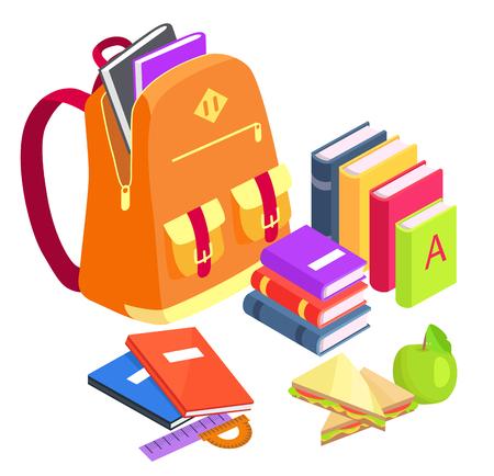 Inzameling van School-Verwante Voorwerpen op Witte achtergrond, vectorillustratie
