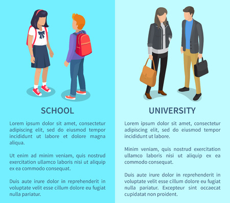 School and University Posters with Inscriptions along with students, vector illustration