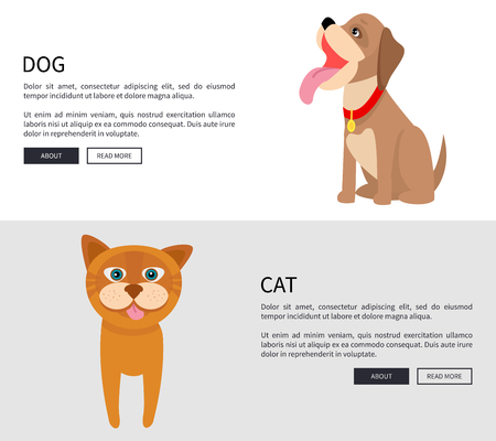 Dog and Cat Conceptual Banner Vector Illustration 向量圖像