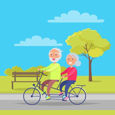 祖父母の日にポスターの背景のために自転車に一緒に乗って幸せな成熟したカップル  イラスト・ベクター素材