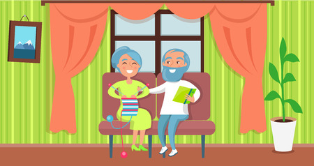 Happy Grandparents Day poster background with Senior Couple Sit Together