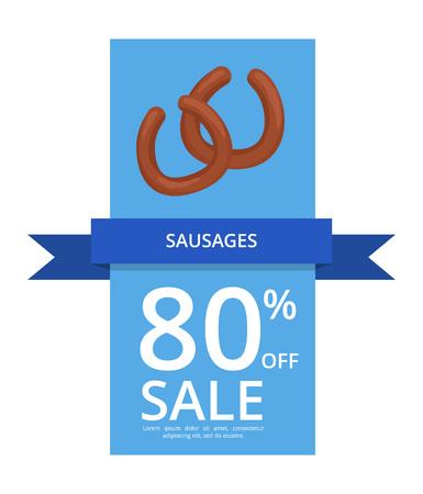 Sausages 80 Off Sale Vector Illustration on Blue banner or poster background Illustration