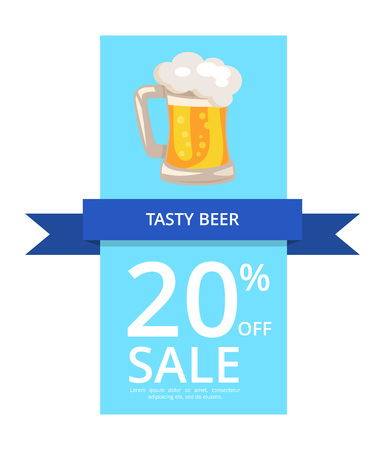 Tasty Beer 20 Off Sale on Vector Illustration  flyer or poster background Иллюстрация