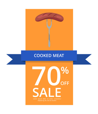 Cooked Meat 70 Off Sale Vector Illustration flyer or poster yellow background .