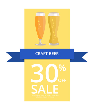 Craft Beer 30 Off Sale on Vector Illustration flyer or poster yellow background