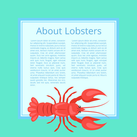 Written Trivia About Lobsters Vector Illustration on Azure Color