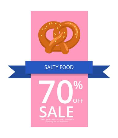 짭짤한 음식 70 판매 포스터 또는 플라이어 배경에 벡터 일러스트 판매 일러스트