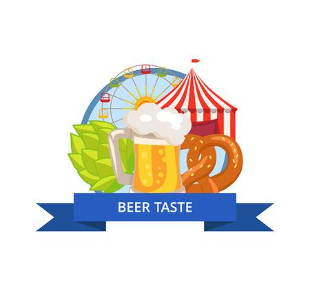 ビール味ポスター オクトーバーフェスト ベクトル図